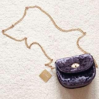 Velvet Lavender Chain Bag