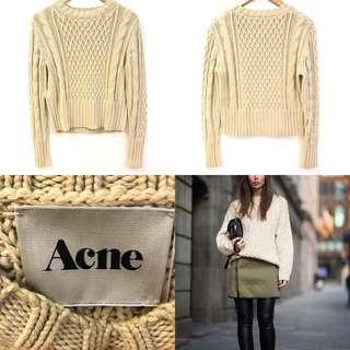針織毛衣冷衫 Acne beige knit sweater top size S