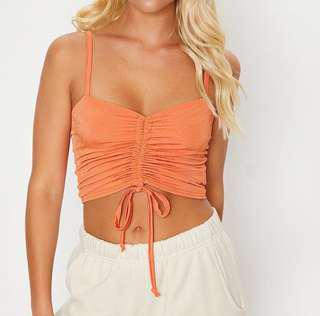 Orange Ruched Crop Top