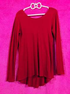 Zara Scoop-back Red Pullover Top