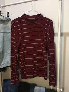 Striped long-sleeved top