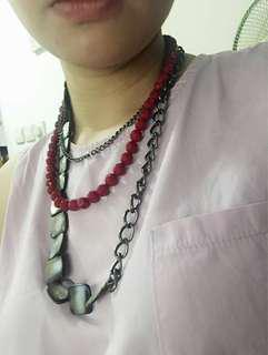長頸鏈 紅色 混合色 幻彩 方形石 灰色雲石紋