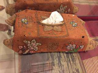 Antique Lampung Indonesia heavily embroidered golden threaded cloth upcycled to a tissue box