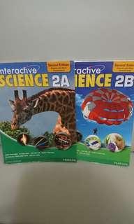 $20 for 2,Interactive Science 2A, 2B,Pearson 出版,全部新買一手現全本有寫花,不想浪費所以平售