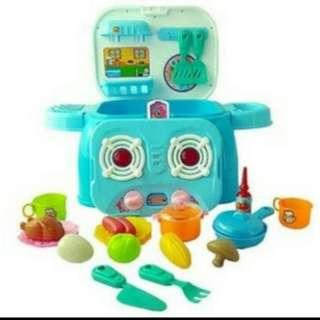 Playset kitchen set mainan masak masakan anak (BIRU)