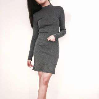 Bershka Knit Long Sleeve Dress
