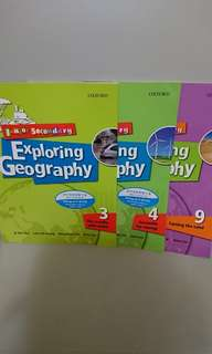 $30 for 3,Exploring Geography book 3, 4, 9,全部新買-手現全本有寫花,不想浪費所以平售
