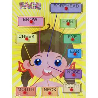 Wooden Peg Puzzles - Face (Girl)
