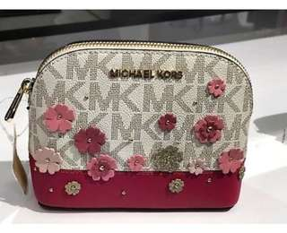 Authentic Michael Kors Emmy Pouch/ Cosmetic Case Floral