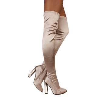 SEXY THIGH HIGH BOOTS 女高跟鞋 大腿靴 US 6 偏小 滑面有彈性 charlotte russe high heels