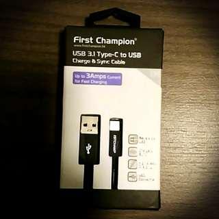 全新 USB 3.1 Type- C to USB 1M高速線 (3Amps)