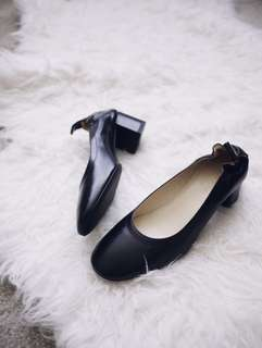 Everlane Day Heel Black 8.5 / 9 Made in Italy Genuine Leather Block Heel Office Pump