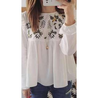 White Embroided Top