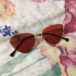 Red Tinted Cat Eye Sunglasses