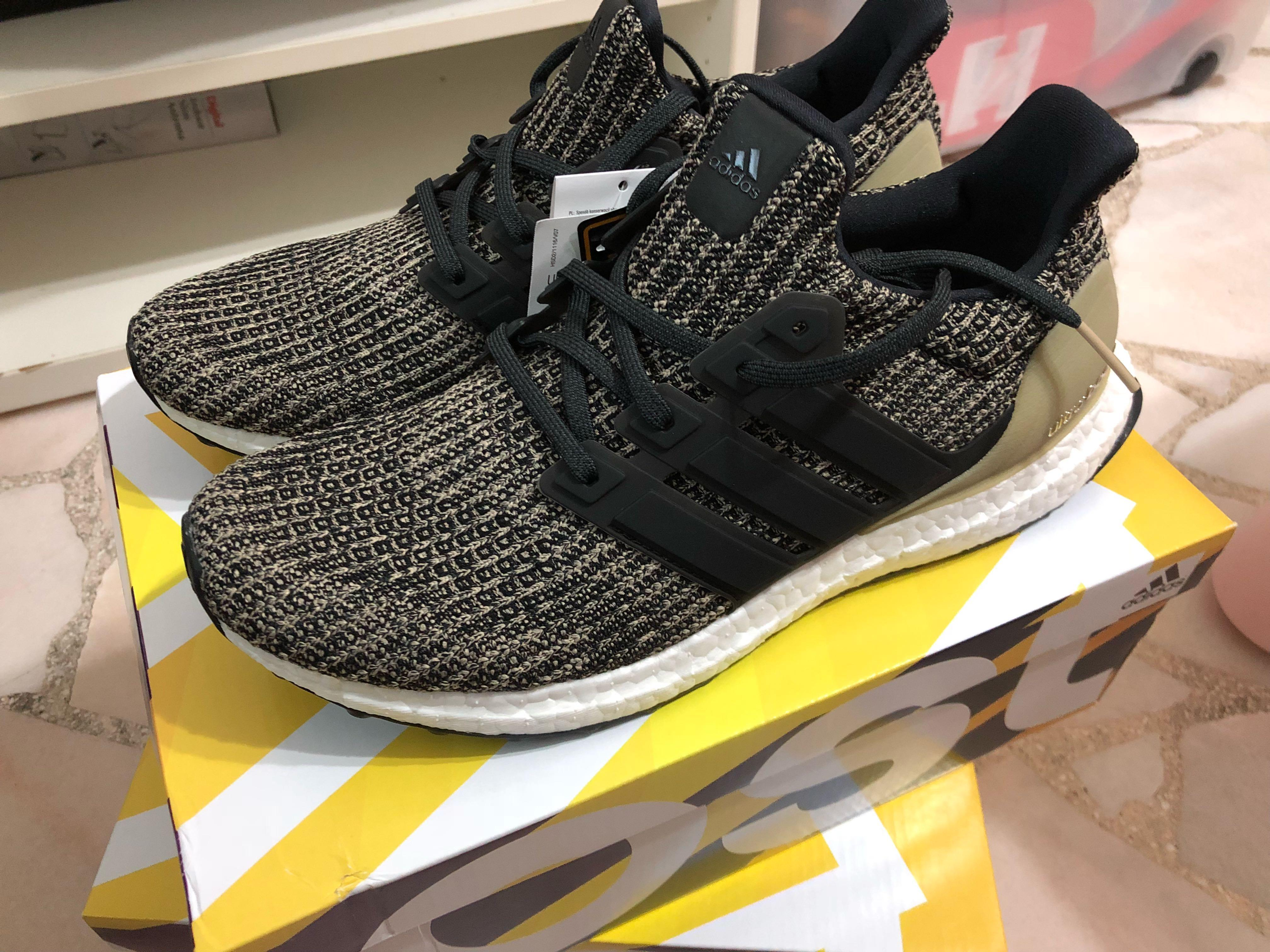new products 39e86 af248 Adidas Ultra Boost 4.0 Core Black/Raw Gold, Men's Fashion ...