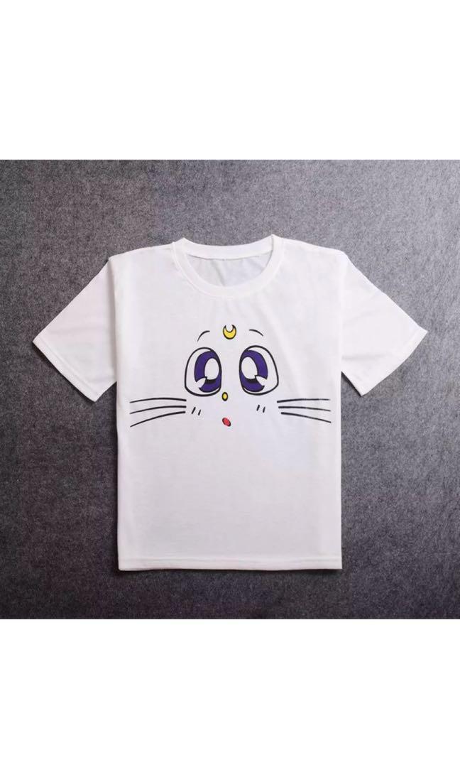 Anime Sailor Moon White Cat Cosplay T-shirt Summer Short Sleeve Tee Top