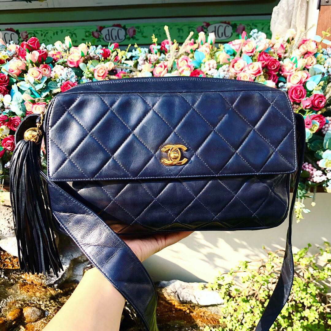 e74a3e8a954f Authentic Chanel Navy Blue Lambskin Camera Bag with 24k gold ...