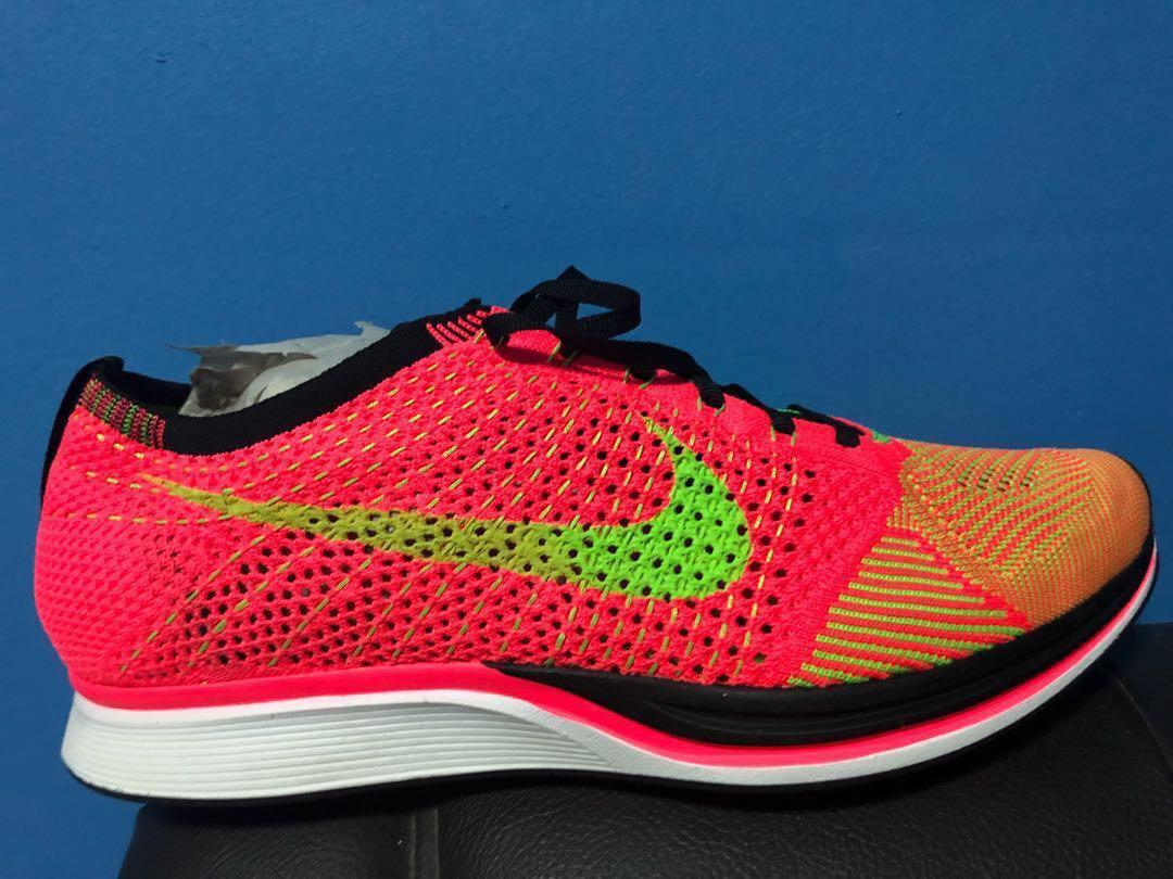buy online 5f10e 60f7f Authentic Nike Flyknit Racer Hyper Punch  Electric Green, Men s Fashion,  Footwear, Sneakers on Carousell