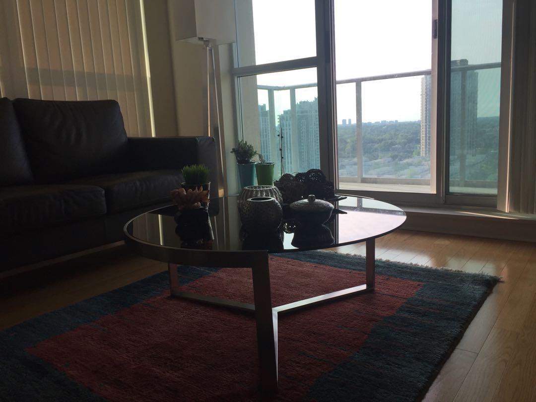 Black glass design coffee table