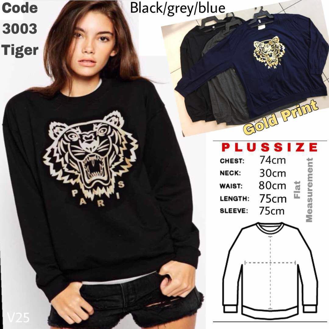 360d23a662e97 BN Plus Size Gold Print Tiger Sweatshirt
