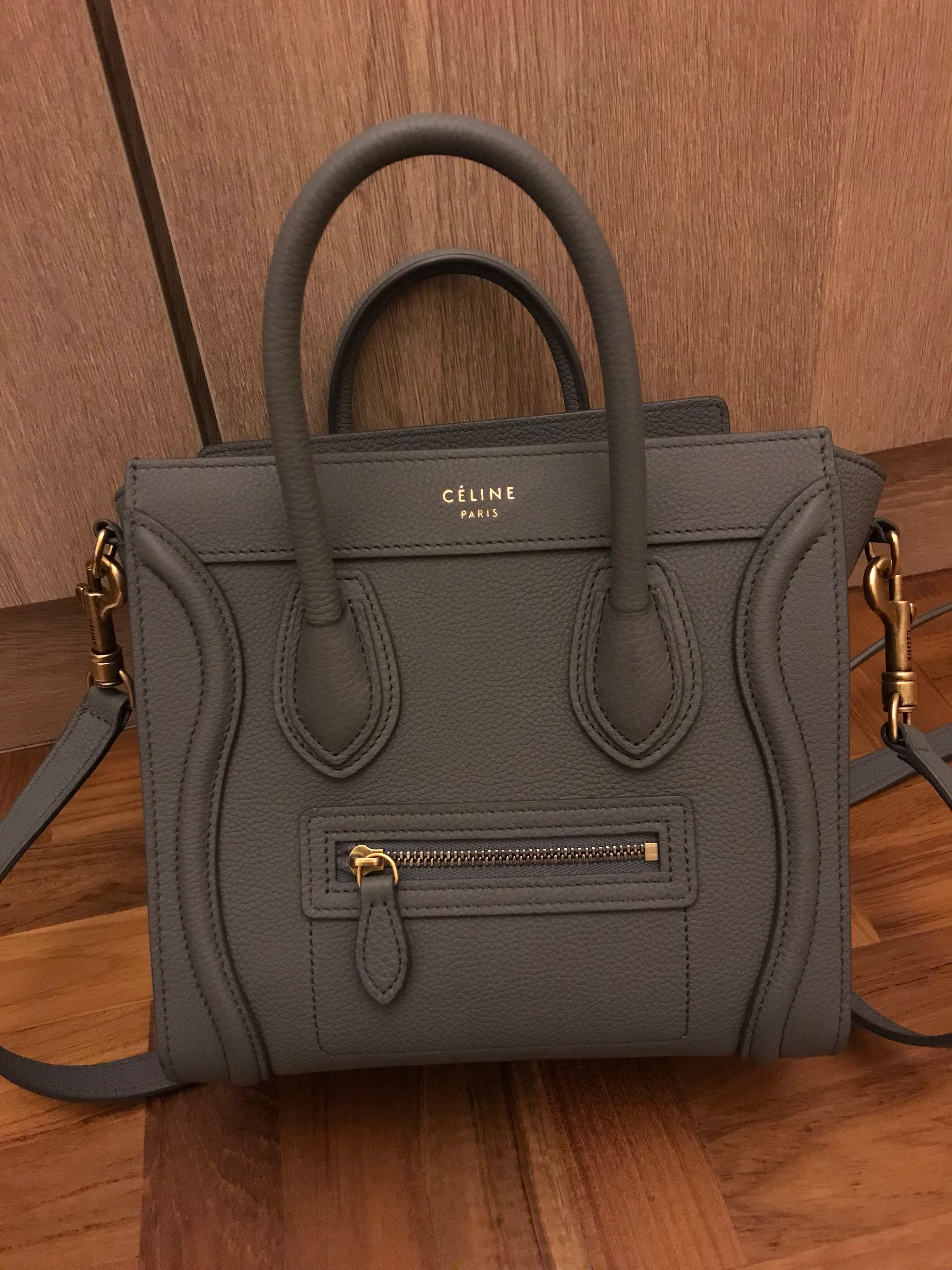 52001991d31a Celine Grained Calfskin Nano Luggage Kohl, Luxury, Bags & Wallets, Handbags  on Carousell