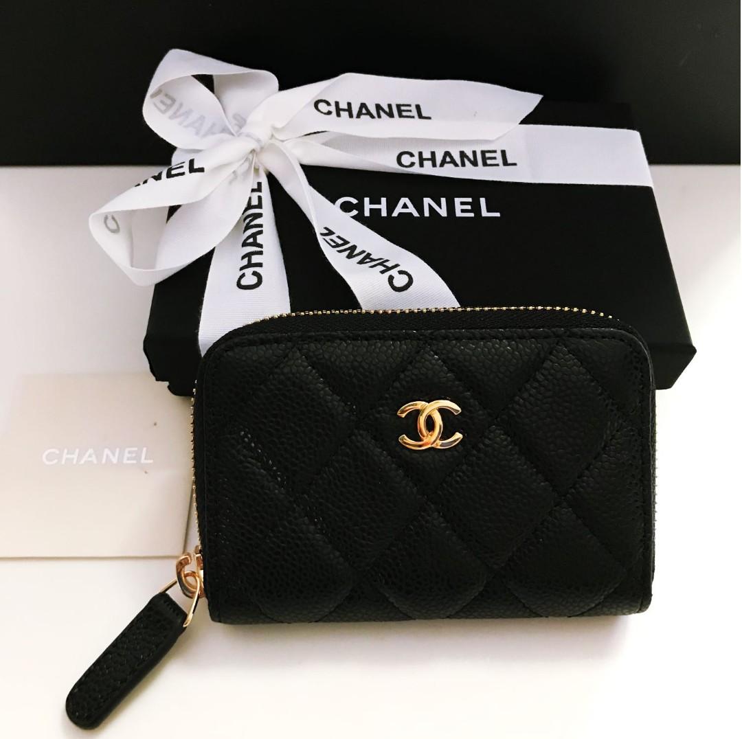 c4a4c0b5a39 BN Chanel Mini Zip Wallet Name Card Holder