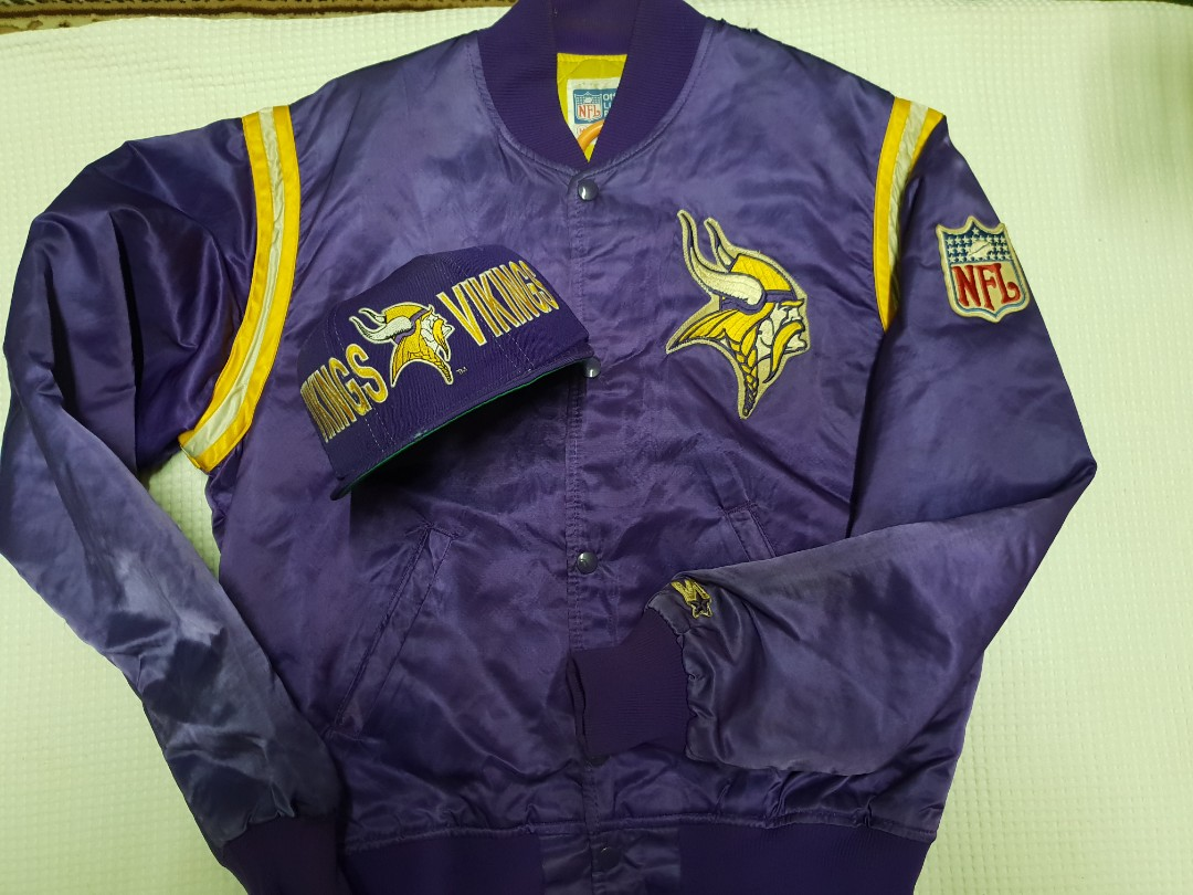 size 40 f7bad 2a451 Combo starter jacket n cap vikings nfl team on Carousell