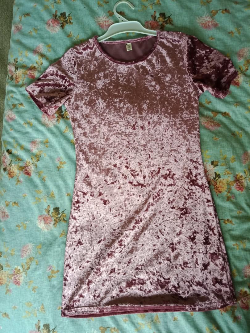 Crushed Velvet T-shirt Dress