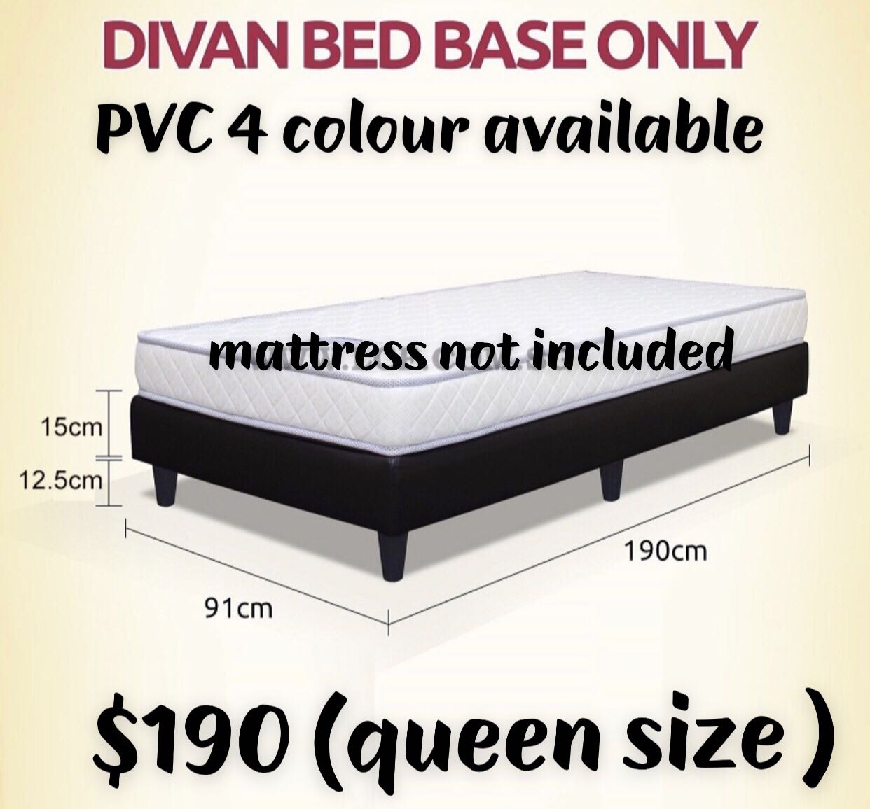 Divan Bed Base Only Queen Size Furniture Beds Mattresses On