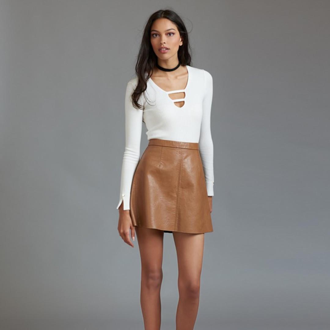 Dynamite Tan Faux Leather Skirt - Size XS (Brand New)
