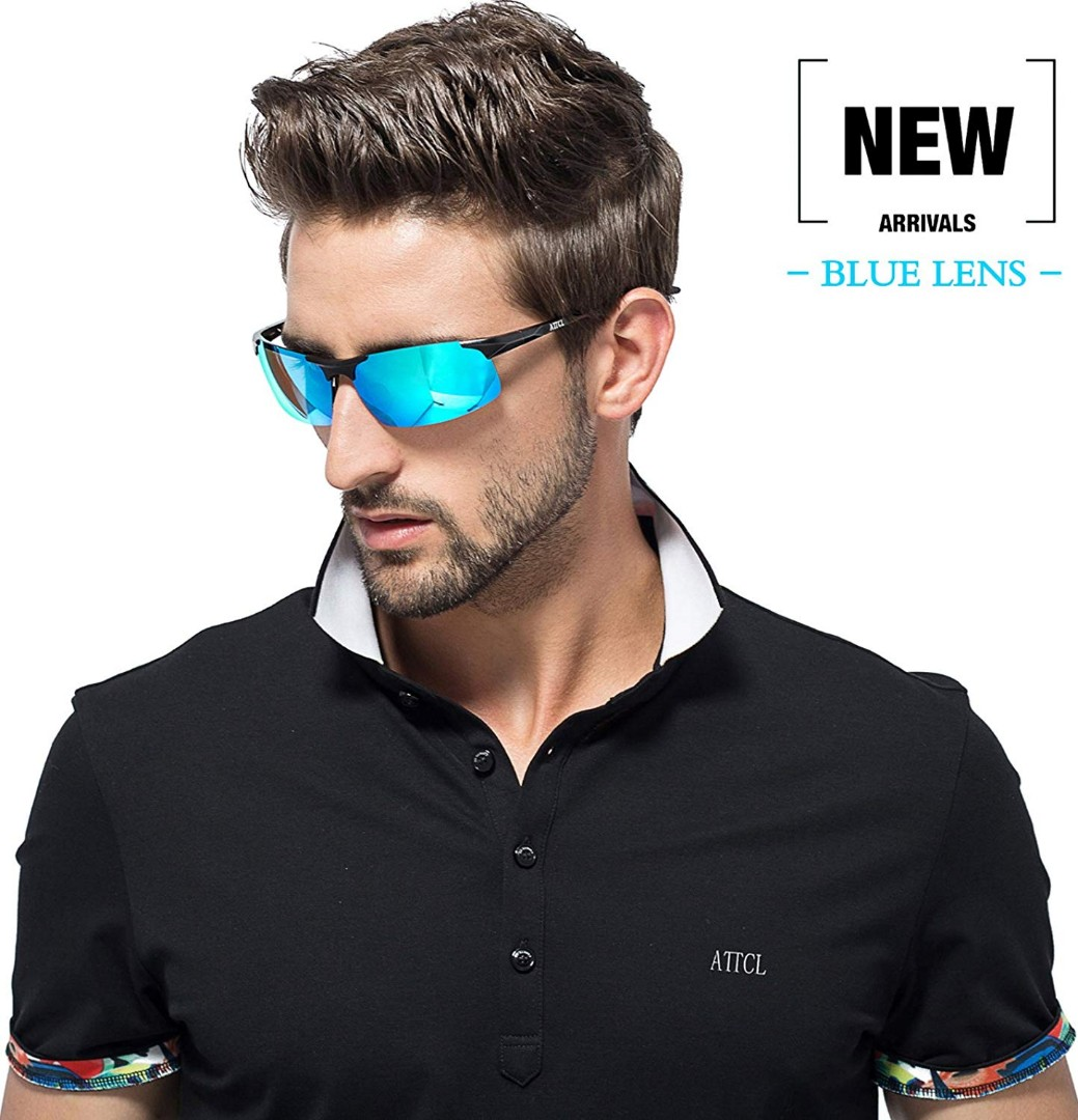 8d50ffa621 (E203) ATTCL Men s HOT Fashion Driving Polarized Sunglasses for Men Al-Mg  Metal Frame Ultra Light (Black-Blue)