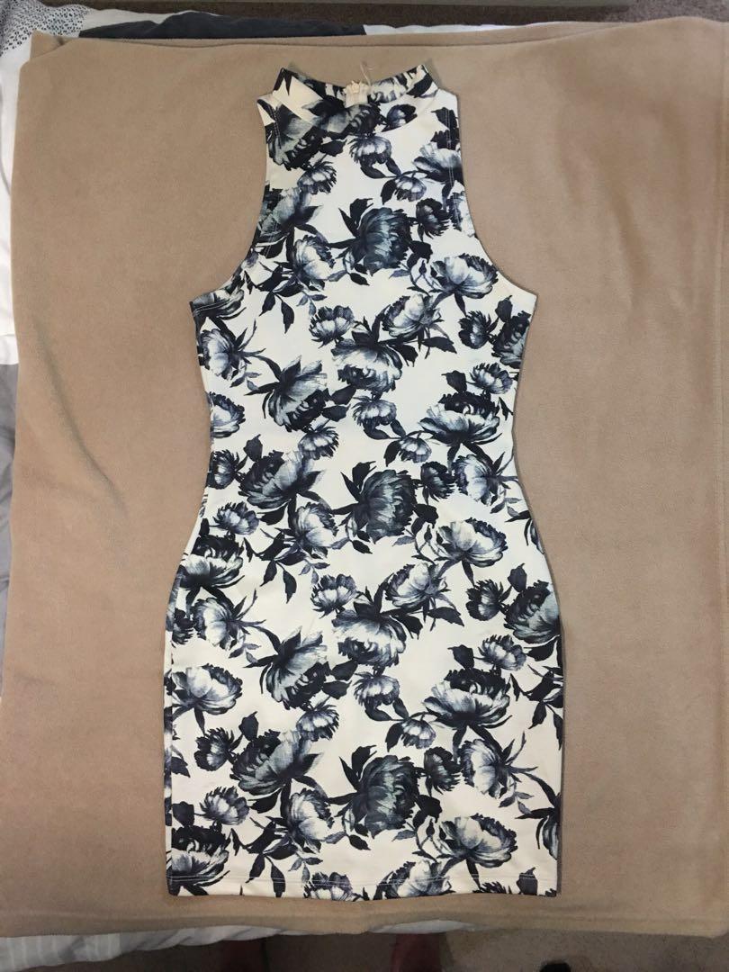 Floral black & white dress