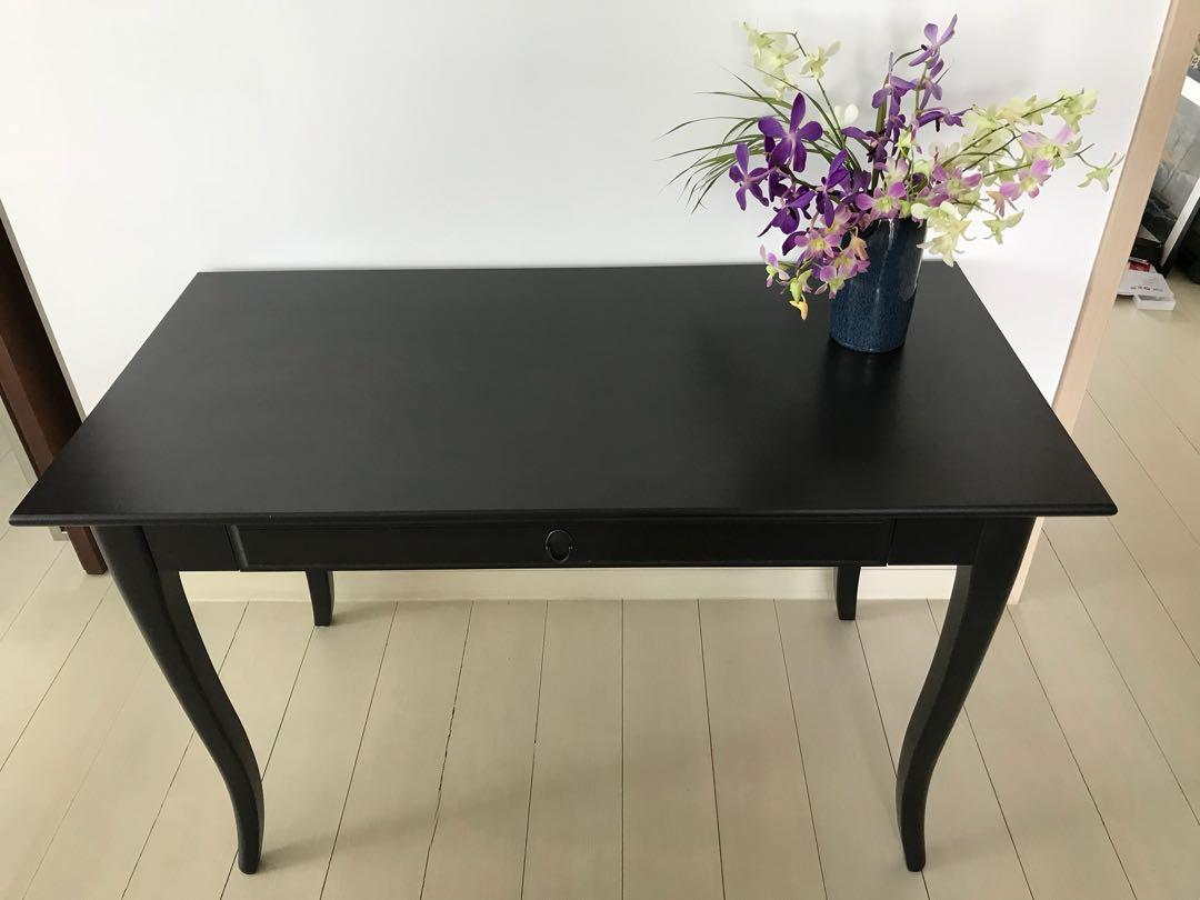 Ikea leksvik desk solid wood black color furniture tables & chairs
