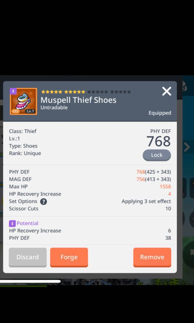 MapleStoryM Asia 2 zenith unique boots with emblem