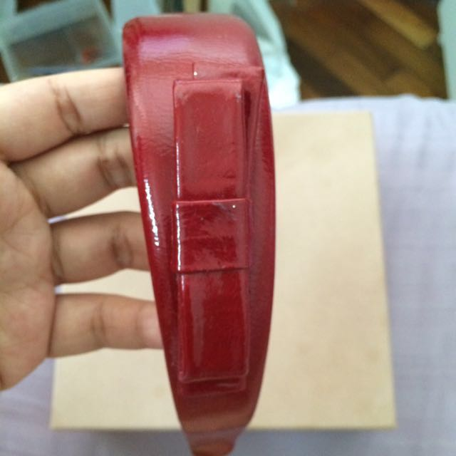 0e4e50ac532 Miu Miu Red Patent Leather Hairband