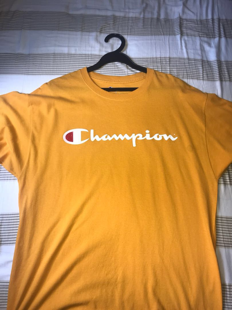 b23a9e7d mustard yellow champion tee, Men's Fashion, Clothes, Tops on Carousell