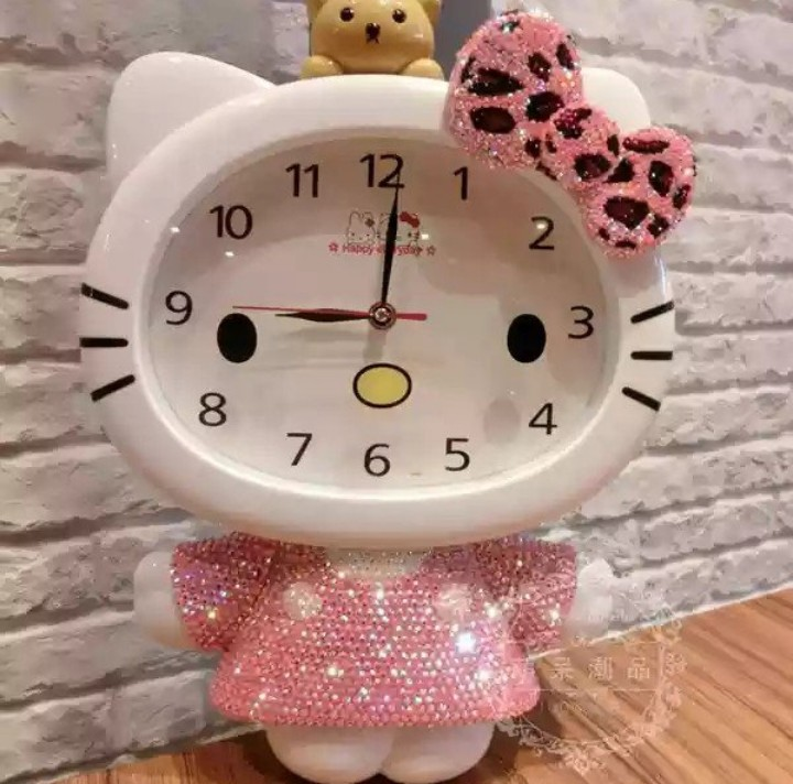 Po Hello Kitty With Bear Gem Studded Wall Clock Furniture Home