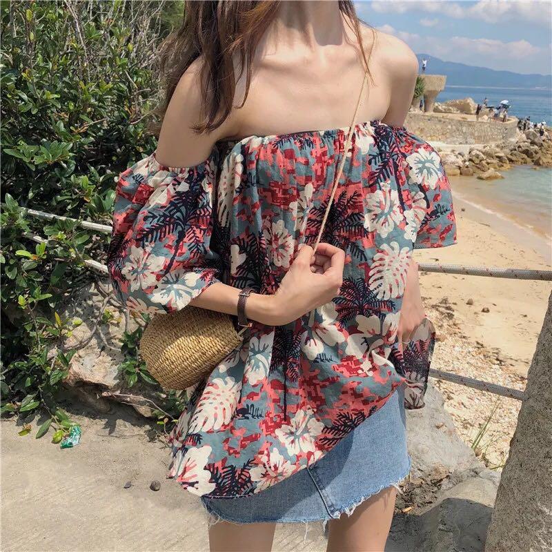 7f43563491 po  ulzzang tropical floral off shoulder blouse top