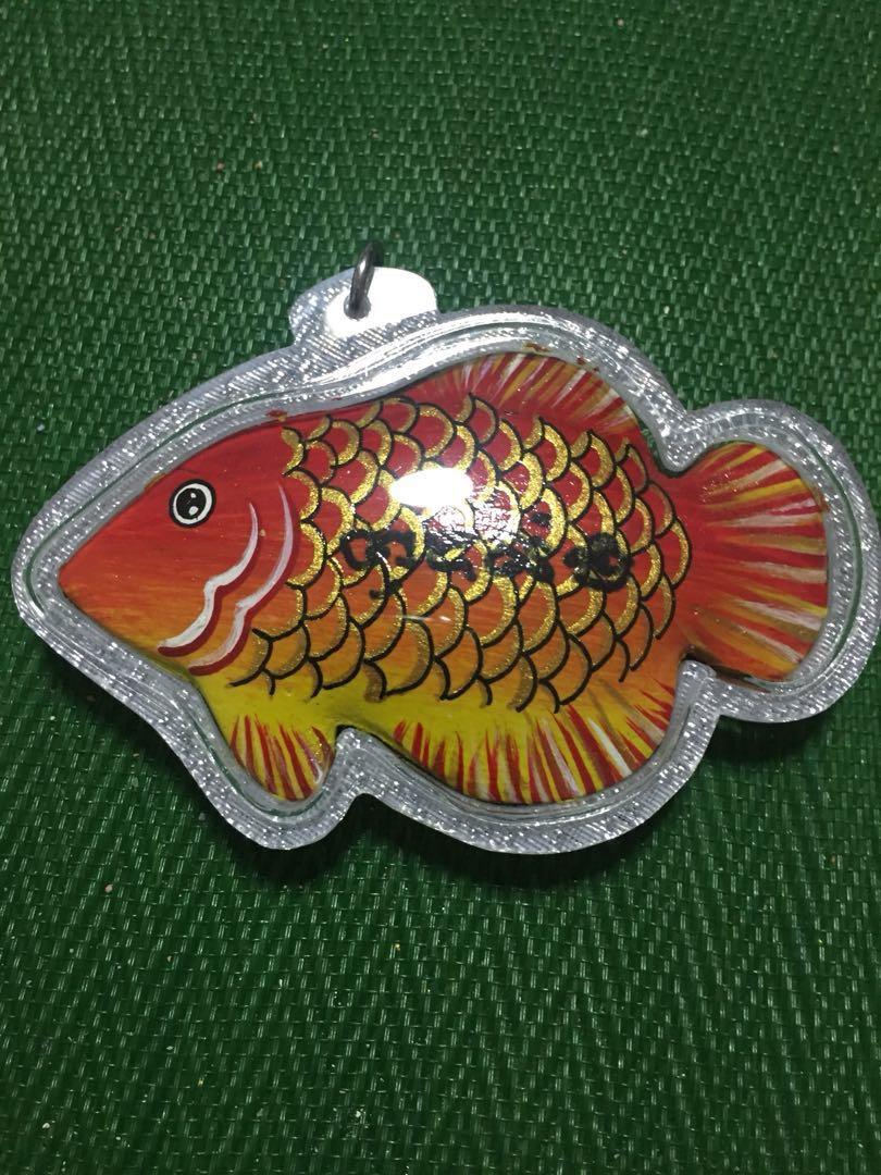 Thai Amulet LP Somchai wealth and luck Fish  Free Metta oil blessed by  Kruba Krissana worth $28