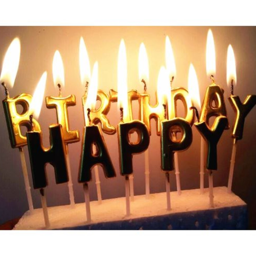 Unique Gold Color Happy Birthday Letter Party Cake Candles