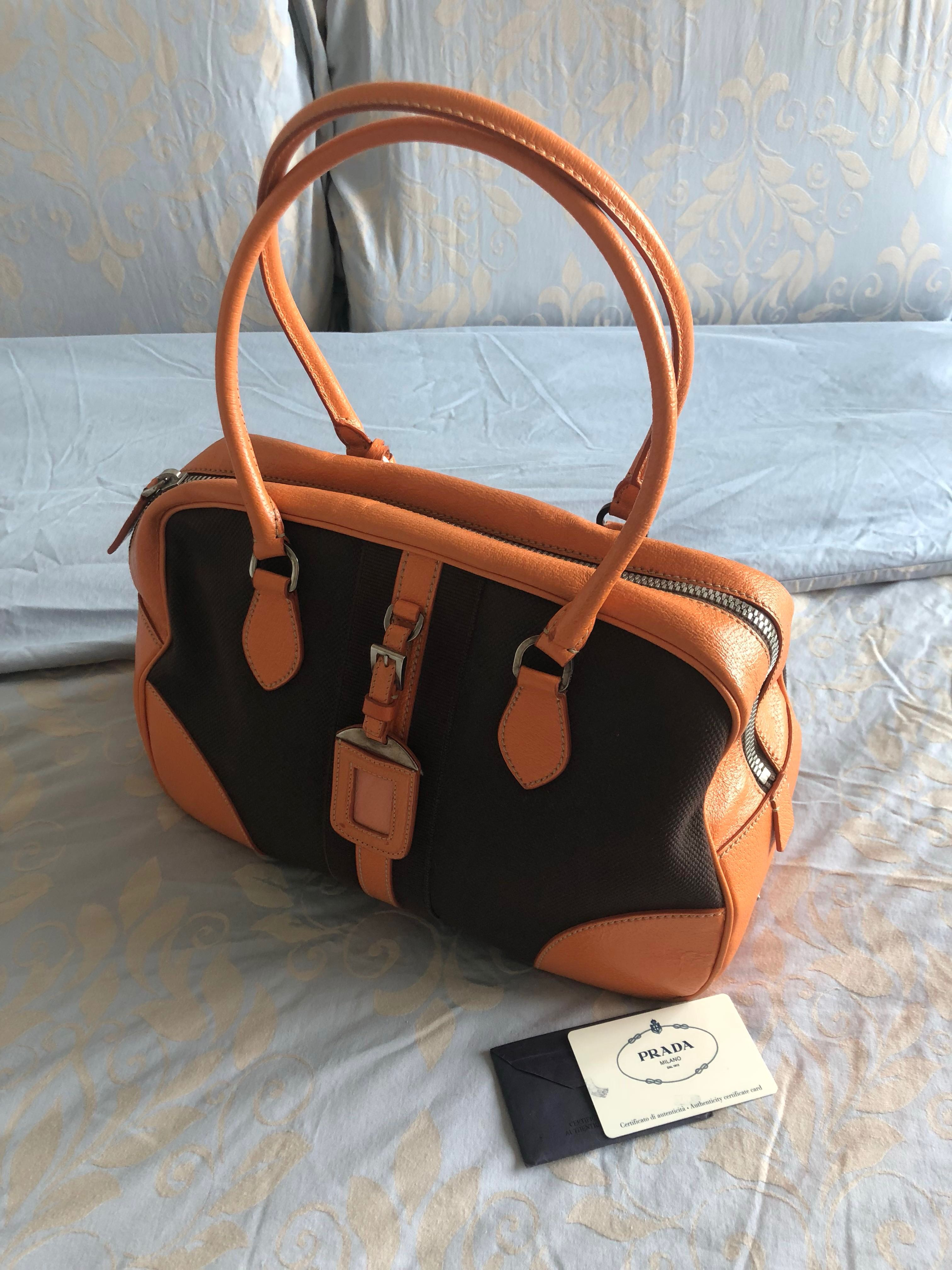 e1a66c30ee Vintage Authentic Prada Bauletto Bowling Stripe Evans + Orange Bag (with  receipt of purchase)