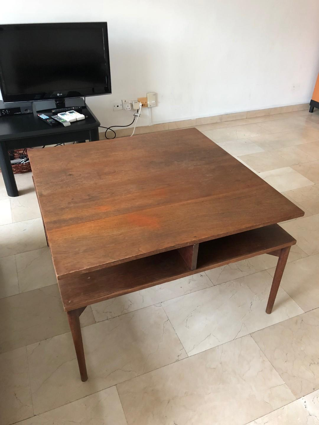Wooden Coffee Table With Under Table Storage Furniture Tables Chairs On Carousell