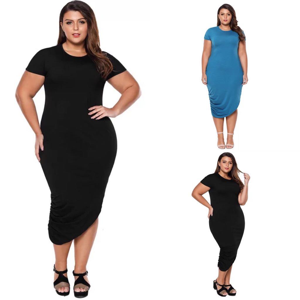 0c375141fd6 XL~3XL) Round neck short sleeve pleated asymmetrical bottom dress ...