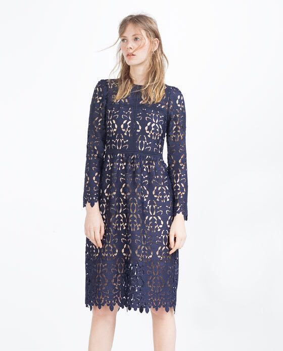 Zara Navy Blue Lace Guipure Embroidered Crochet Midi Dress Womens