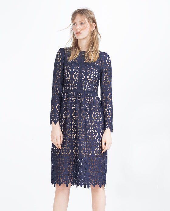 2bea0326 Zara Navy Blue Lace Guipure Embroidered Crochet Midi Dress, Women's ...
