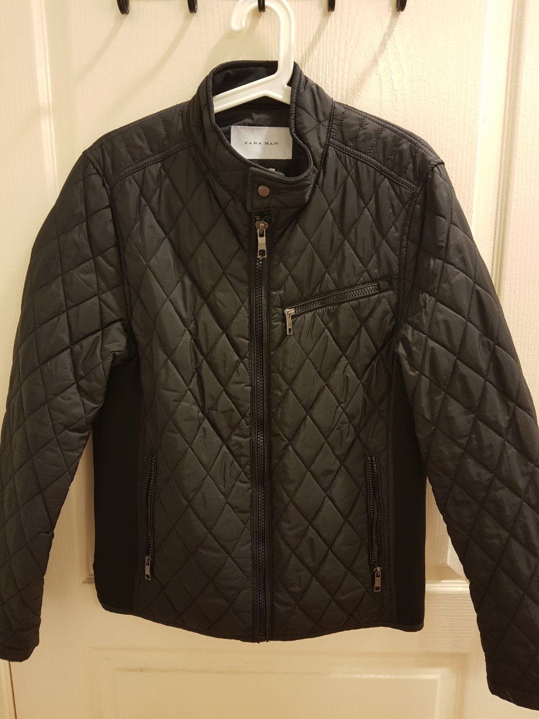 ZARA CHARCOAL GREY BOY/'S QUILTED JACKET WITH HOOD