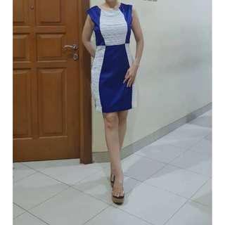 MARCOBOR BLUE WHITE COLORBLOCK DRESS ( NEW WITH TAG )