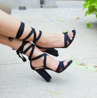 Brash Payless Lace Up Heels Black