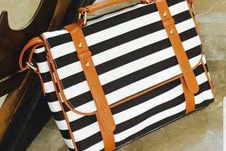 Brand New Black Striped Sling Bag