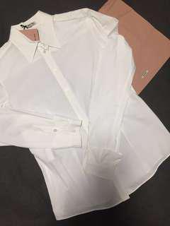 MiuMiu cotton white slim cut shirt